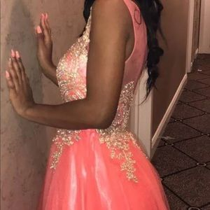 Coral ball gown dress
